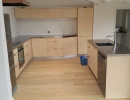 kitchen natural ply , fancy inlay handles