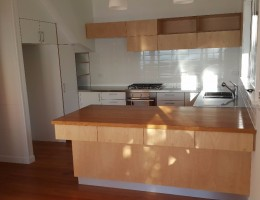 kitchen natural and white ply