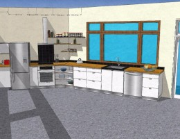 White Plywood kitchen